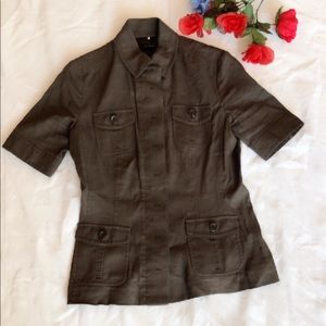 Elie Tahari Button Down Patch Pocket Jacket Blazer